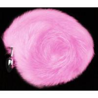Серебристая анальная пробка с розовым хвостом