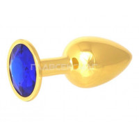 Золотистая анальная пробка с синим кристаллом - 7 см.