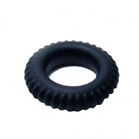Черное силиконовое эрекционное кольцо-шина Sex Expert