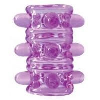Открытая фиолетовая насадка на пенис Crystal Sleeve - 5,5 см.