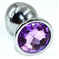 Серебристая анальная пробка из нержавеющей стали с фиолетовым кристаллом - 10 см.