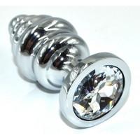 Серебристая анальная пробка из нержавеющей стали с прозрачным кристаллом - 8,8 см.