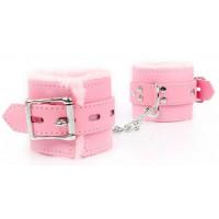 Розовые мягкие наручники на регулируемых ремешках