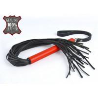 Черная кожаная плеть MIX с красной рукоятью - 47 см.