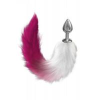 Серебристая анальная пробка с розовым хвостом Galaxy