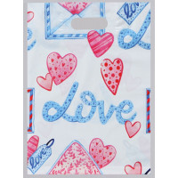 Полиэтиленовый пакет Love с усиленной ручкой - 31 х 40 см.