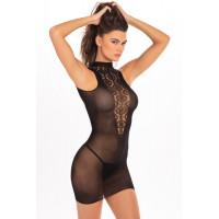 Эротическое бесшовное мини-платье с кружевной вставкой