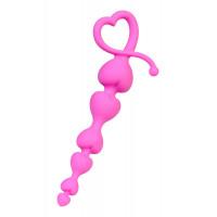 Розовая анальная цепочка из силикона - 18 см.