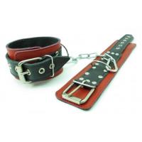 Красно-чёрные наручники из натуральной кожи
