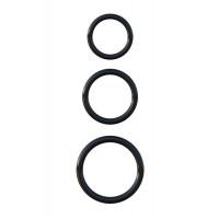 Набор из трех черных эрекционных колец Silicone 3-Ring Stamina Set