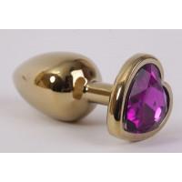 Золотистая анальная пробка с фиолетовым стразиком-сердечком - 7,5 см.