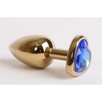 Золотистая анальная пробка с синим стразиком-сердечком - 8 см.