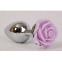 Серебристая анальная пробка с сиреневой розой - 7,6 см.