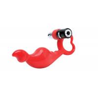 Красный силиконовый стимулятор с вибропулей на ручке