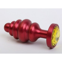 Красная ребристая анальная пробка с жёлтым стразом - 7,3 см.