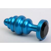 Синяя ребристая анальная пробка с чёрным кристаллом - 7,3 см.