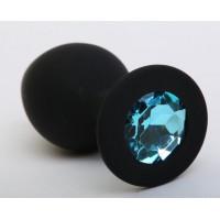 Чёрная силиконовая пробка с голубым стразом - 9,5 см.