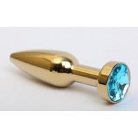 Золотистая анальная пробка с голубым кристаллом - 11,2 см.