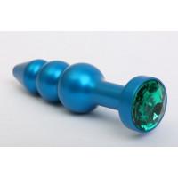 Синяя фигурная анальная пробка с зелёным кристаллом - 11,2 см.