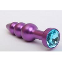 Фиолетовая фигурная анальная ёлочка с голубым кристаллом - 11,2 см.