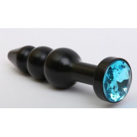 Чёрная анальная ёлочка с голубым кристаллом - 11,2 см.