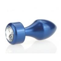 Синяя анальная пробка с прозрачным стразом - 7,8 см.