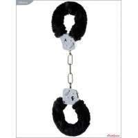 Металлические наручники с чёрным мехом и ключиками