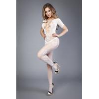 Белый комбинезон c короткими рукавами и имитацией шнуровки на груди