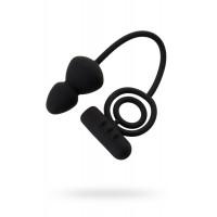 Чёрное эрекционное кольцо с вибростимулятором и анальным хвостом