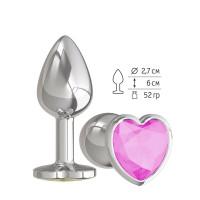 Серебристая анальная втулка с розовым кристаллом-сердцем - 7 см.