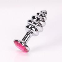 Серебристая рифленая пробка с розовым кристаллом - 9 см.