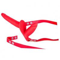 Красный страпон с вагинальной пробкой SEX COMPANION DUAL CLIMAX - 17 см.