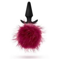 Силиконовая анальная пробка с бордовым заячьим хвостом Fur Pom Pom - 12,7 см.