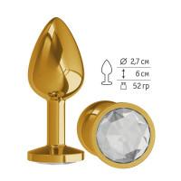 Золотистая анальная втулка с прозрачным кристаллом - 7 см.