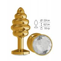 Золотистая пробка с рёбрышками и прозрачным кристаллом - 7 см.