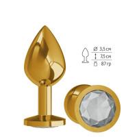 Золотистая средняя пробка с прозрачным кристаллом - 8,5 см.