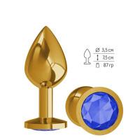 Золотистая средняя пробка с синим кристаллом - 8,5 см.
