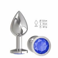 Серебристая средняя пробка с синим кристаллом - 8,5 см.
