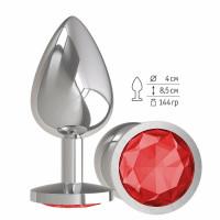 Серебристая большая анальная пробка с красным кристаллом - 9,5 см.