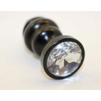 Черная фигурная анальная пробка с прозрачным кристаллом - 8,2 см.
