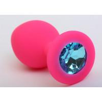 Розовая силиконовая анальная пробка с голубым стразом - 9,5 см.