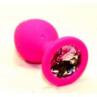 Розовая силиконовая анальная пробка с розовым стразом - 9,5 см.