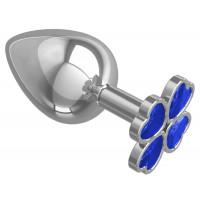 Серебристая анальная пробка-клевер с синим кристаллом - 9,5 см.