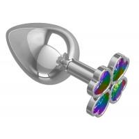 Серебристая анальная пробка-клевер с радужным кристаллом - 9,5 см.